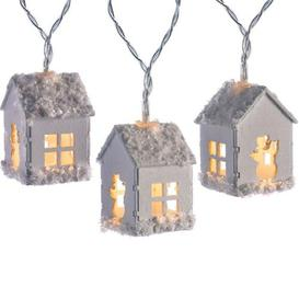 image-20 White LED Snow Decorated Wooden House Fairy String Lights Three Posts