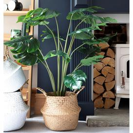 image-Large faux Monstera / Cheese plant in black pot