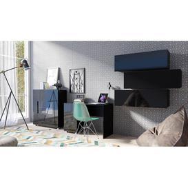 image-Gumbs 5 Piece Bedroom Set Wade Logan Colour: Black/Black Gloss