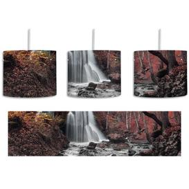 image-Stunning Landscape with Waterfall 1-Light Drum Pendant East Urban Home Shade Colour: Grey/Red