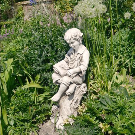image-Reading Child Garden Ornament Off White