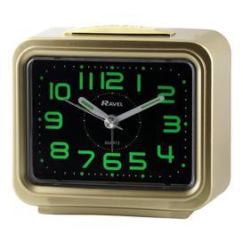 image-Analog Quartz Alarm Tabletop Clock Ravel Finish: Gold