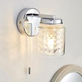 image-Hylton Glass Bathroom Wall Light Chrome