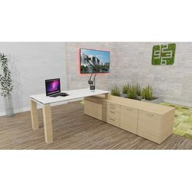 image-Annmarie L-Shape Executive Desk Ebern Designs Colour (Top/Frame): White/Oak, Size: 72cm H x 180cm W x 100cm D
