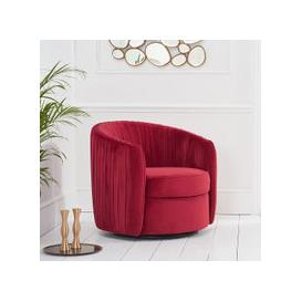 image-Pavos Tub Design Velvet Swivel Lounge Chair In Red
