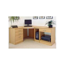 image-Small Office Corner Desk Set With 3+1 Drawers, Printer Shelf & CPU Unit (Classic Oak)