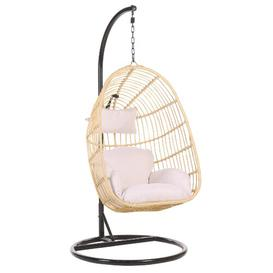 image-Desirae Swing Chair with Stand Freeport Park Colour (Frame): Beige, Colour (Cushion): Light Pink