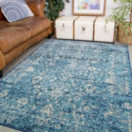 image-Teal Distressed Traditional Rug - Vivid
