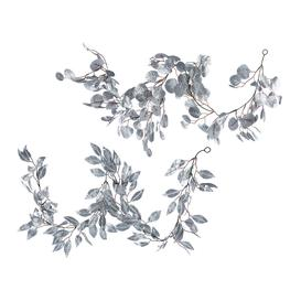 image-A by AMARA Christmas - Glitter Leaf Garland - Set of 2 - Silver