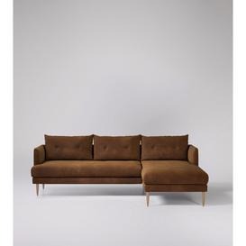 image-Swoon Kalmar Corner Sofa in Brown Smart Leather With Light Feet