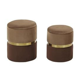 image-Gaddy 2 Piece Dressing Table Stool Set Fairmont Park Seat Colour: Brown