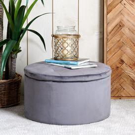 image-Ruby Storage Ottoman - Grey Velvet