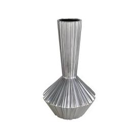 image-Deco Home Medium Silver Ribbed Vase