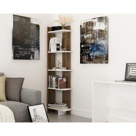 image-Lynnfield Corner Bookcase Zipcode Design Colour: White/Walnut, Size: 170.18cm H x 45.72cm W x 22.86cm D