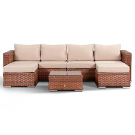 image-4 Seater Rattan Sofa Set Sol 72 Outdoor Colour: Brown/Beige