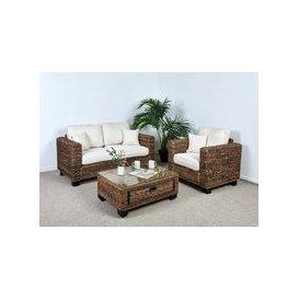 image-Kensington Abaca 2 Seat Large Sofa Set - 1x Sofa, 1x Armchair, 1x Medium Coffee Table in Oatmeal