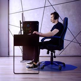 image-Cleartex Hard Floor Straight Edge Chair Mat Floortex Colour: Cobalt Blue