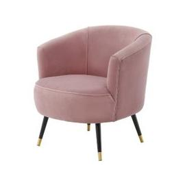 image-Hambree Soft Velour Tub Chair In Blush Pink With Black Legs