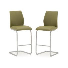 image-Samara Bar Chair In Green Faux Leather And Chrome Legs In A Pair