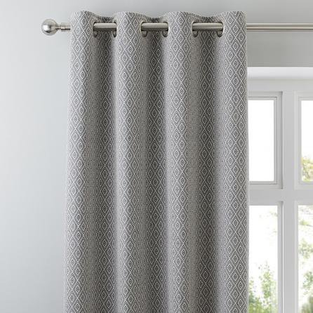 image-Elements Oslo Grey Eyelet Curtains Grey
