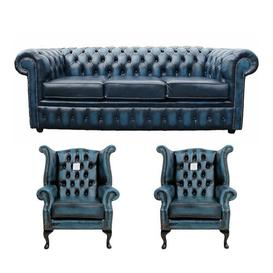 image-Sir Chesterfield 3 Piece Leather Sofa Set Williston Forge Upholstery Colour: Antique Blue