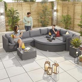 image-Nova Garden Furniture Hampton Slate Grey Rattan Deluxe Corner Sofa Set with Coffee Table