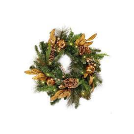 image-Luxury Pre-Lit Gold Pomegranate Christmas Wreath