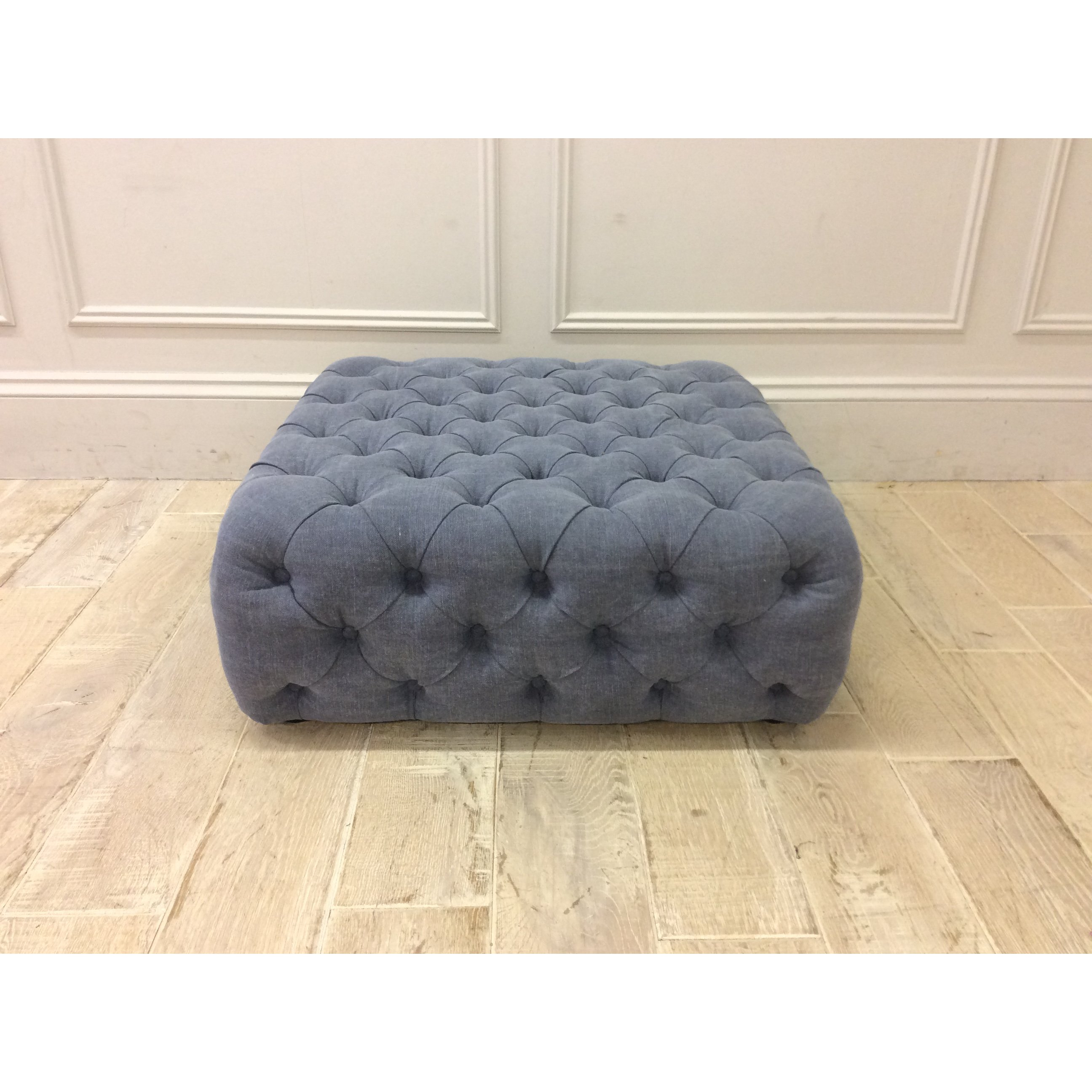 image-Pouffe Buttoned Footstool in Linen Mix Blueberry