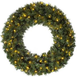 image-Majestic 100cm Lighted Artificial Wreath Three Posts