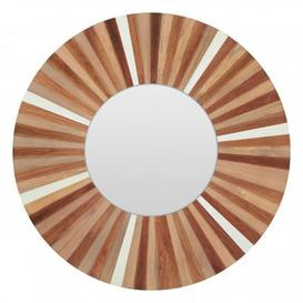 image-Burner Round Wall Bedroom Mirror In Sunburst Frame