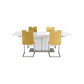 image-Grande White Extending Table and 4 Chairs - White