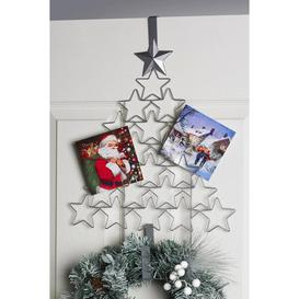 image-Silver Christmas Tree Card and Wreath Holder