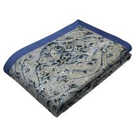 image-Renaissance Navy Blue Printed Velvet Throws & Runners, Bed Runner (50cm x 220cm)