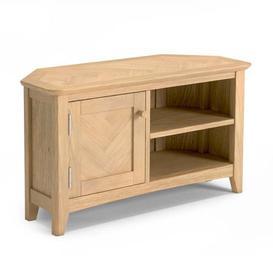 image-Carnial Wooden Corner TV Unit In Blond Solid Oak