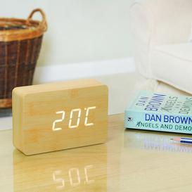 image-Modern Digital Birch Solid Wood Electric Alarm Tabletop Clock Symple Stuff
