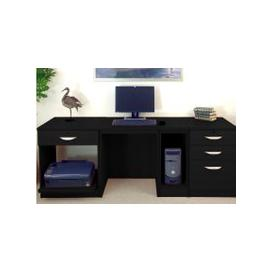 image-Small Office Desk Set With 1+3 Drawers, Printer Shelf & CPU Unit (Black Havana)