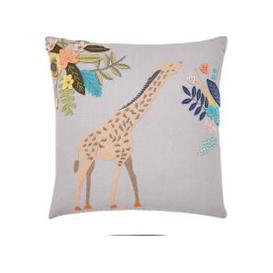 image-Giraffe Embroidered Grey Cushion Grey and Coral