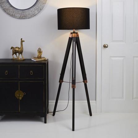 image-Trio Tripod Black and Copper Floor Lamp Black