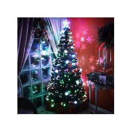 image-Fibre Optic Green Christmas Tree with Multicoloured LED Lights and Baubles - 2ft, 3ft, 4ft, 5ft, 6ft [2ft / 60cm PRE-ORDER]