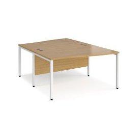image-Value Line Deluxe Bench Back to Back Wave Desks (White Legs), 140wx160/200dx73h (cm), Oak, Free Delivered & Fully Installed Delivery
