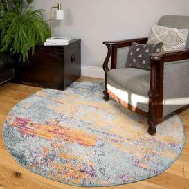 image-Round Circle Gold Blue Distressed Living Room Rug - Oscar
