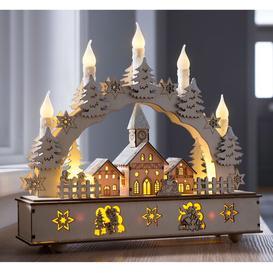 image-Pre-lit Village Scene Candle Bridge Christmas Decoration Three Posts