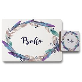 image-Wreath Feathers 12 Piece Cork Placemat and Coaster Set