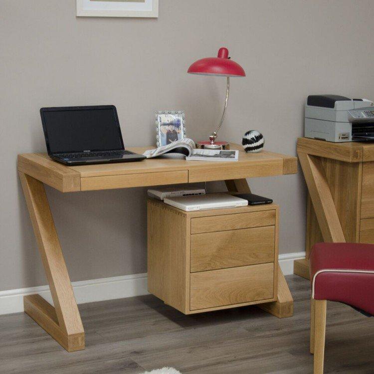image-Z Solid Oak Furniture Small Computer Desk