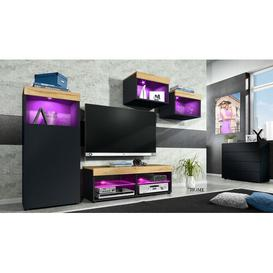 "image-Pure Entertainment Unit for TVs up to 55"" Vladon Colour: Black/Pine, Plug Type: C/F, Built In Lighting: Yes"
