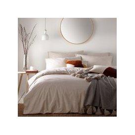 image-Claybourne Natural 100% Cotton Duvet Cover and Pillowcase Set Cream