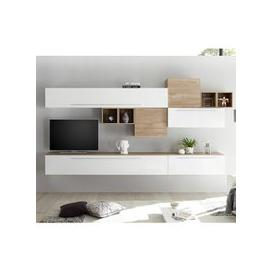 image-Infra TV Wall Unit In White High Gloss And Stelvio Walnut