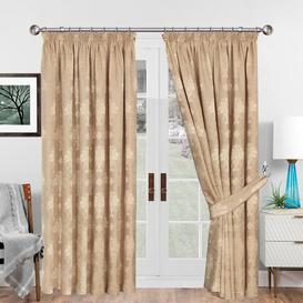 image-Virgina Pencil Pleat Room Darkening Curtains Imperial Homeware London Panel Size: 167 W x 137 D cm, Colour: Gold
