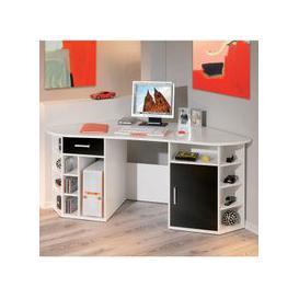 image-Fabri Wooden Corner Computer Desk In White With Black Door