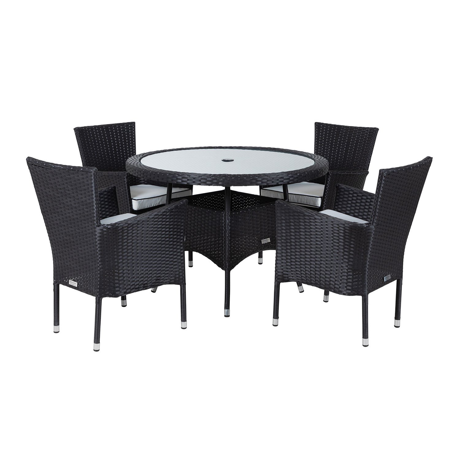 image-Cambridge 4 Rattan Garden Chairs and Small Round Dining Table Set in Black and Vanilla